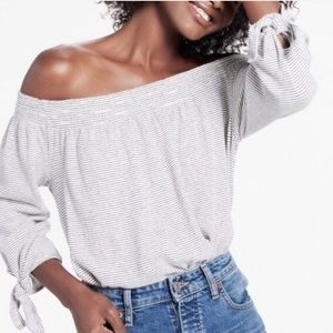 Lucky Brand Tie Cuff Smocked Off The Shoulder Top